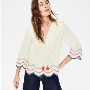 Boden Willa ivory top embroidery boho cotton - 16 plus size